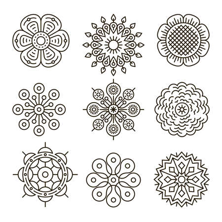 Thin line flower icon collection. Vector illustration. Stok Fotoğraf - 112203617
