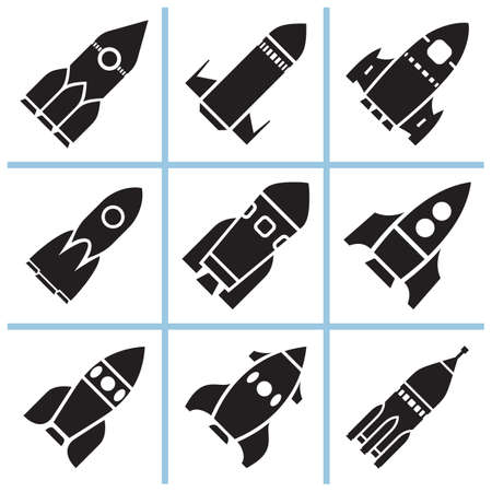 Rocket sign icons set. Vector illustration Stok Fotoğraf - 112203618