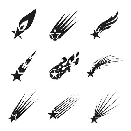 Shooting stars icons set. Comet tail or star trail vector illustration Çizim
