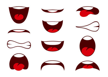 Vector illustrations of funny cartoon mouth with different expressions. Vector illustration Stok Fotoğraf - 112203619