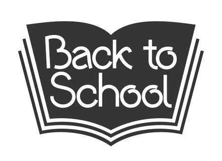 Back to school text on book. Knowledge day sign