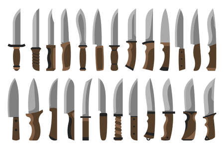 Collection of knives, choppers and daggers.