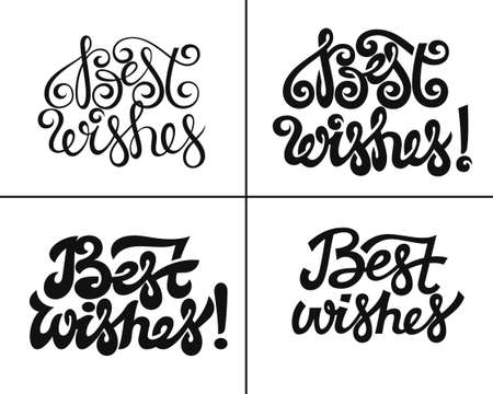 Best wishes lettering set greeting cards or poster Stok Fotoğraf - 151099496