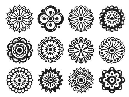 Stylized flowery design elements set