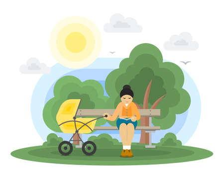 Young mother with a baby carriage sitting on a park bench and reading a book. Vector illustration Çizim