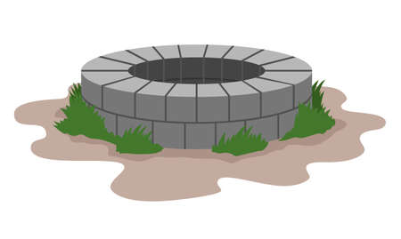 Old stone well. Ancient water source. Vector illustration Stok Fotoğraf - 151172886