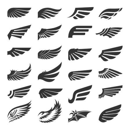 Set of wing signs design elements. Vector illustration