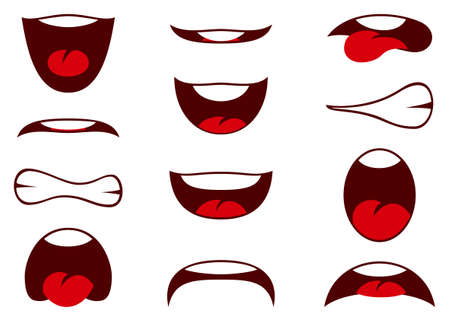 Vector illustrations of funny cartoon mouth with different expressions. Vector illustration Stok Fotoğraf - 151356271