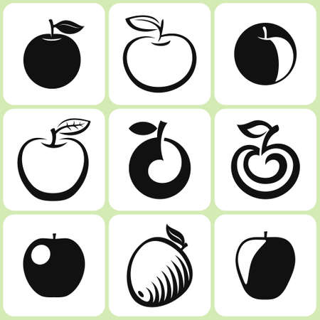 Set of apple fruit icons in a different style Stok Fotoğraf - 151586636