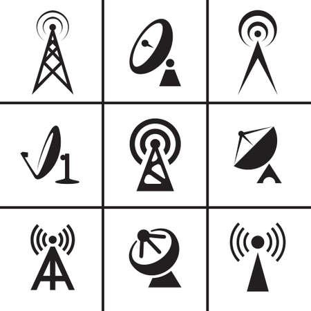 Antenna and satellite receiver dish icons set Çizim
