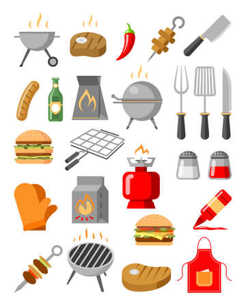 Barbeque grill cooking tools and ingredients set Stok Fotoğraf - 151586638