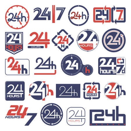 Opened 24 hours customer support service icons set Çizim