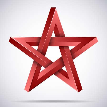 Red star icon, award symbol, pentagonal sign Çizim