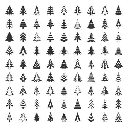 Christmas and new year fir tree icons set Stok Fotoğraf - 151586644