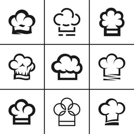 Professional cook or baker chef hat set Çizim