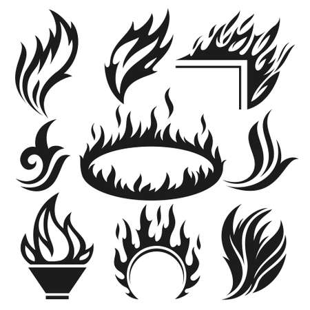 Burning fire and flame icons and signs set Stok Fotoğraf - 151586651