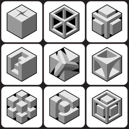 Isometric 3d abstract objects design element set