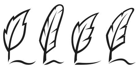 Ink writing quill feather pen icon set Çizim