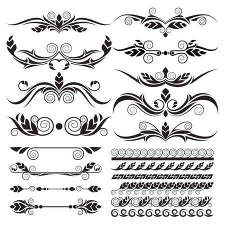 Calligraphic design elements page art decor set