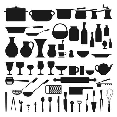 Kitchenware related set of a 57 object silhouettes Ilustración de vector