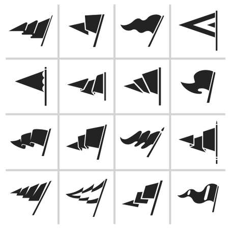Triangle flag icon and signs set Çizim