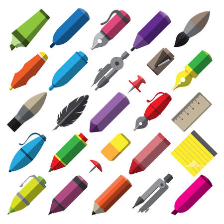 Set of school supplies and stationery Stok Fotoğraf - 151623268