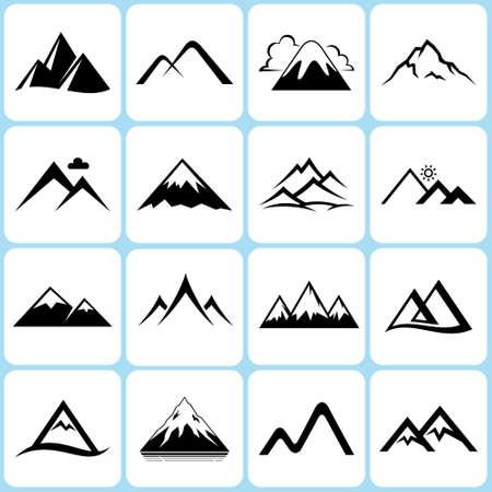Mountain peaks signs logo set Stok Fotoğraf - 151808583