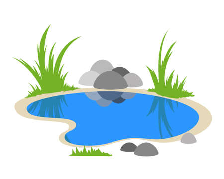 Natural pond cartoon outdoor scene