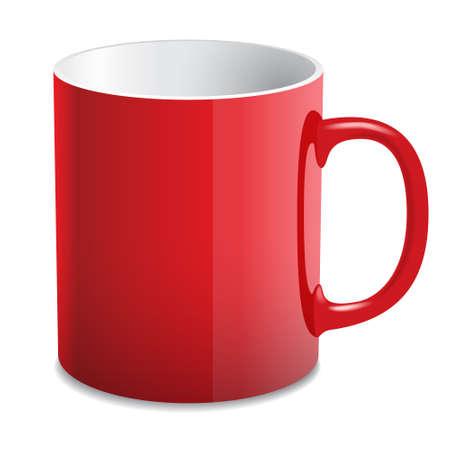 Red glossy mug Stok Fotoğraf - 151725363