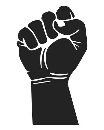 Black rising hand fist. Protest, freedom, power
