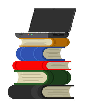 Laptop standing on stack of books Stok Fotoğraf - 151808585