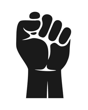 Raised clenched fist protest symbol icon. Freedom, justice, solidarity symbol Ilustración de vector