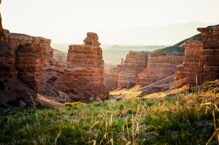 Morning light int he Kazakhstan Sharyn Canyons