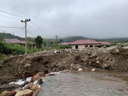 The consequences of volcano eruption in Berastagi Village, Sumatra 版權商用圖片