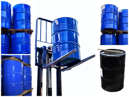 Set of the Chemical tanks stored at the storage of waste isolated on white Stock Photo