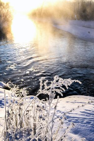 Winter sunny landscape with river and forest. Stock Photo