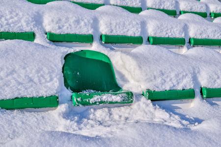 Background chairs at stadium , winter Stock Photo