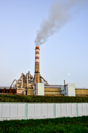exhaust system: Pollution of atmospheric air from the chimneys of plants.