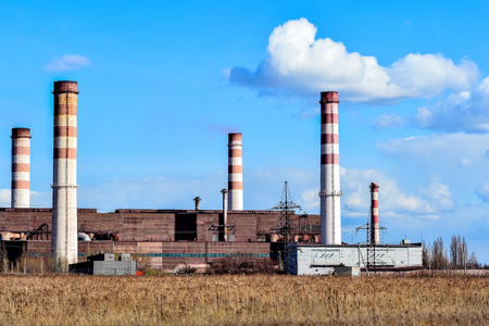 Pollution of atmospheric air from the chimneys of plants.