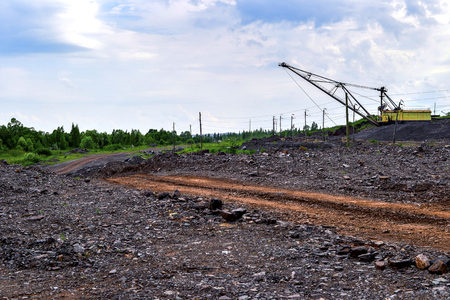 dumps: Dumps rock mountains from industrial quarries