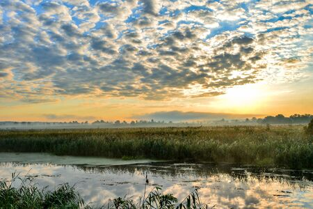 resplandor: Photo with a sunny summer sunrise over the river.