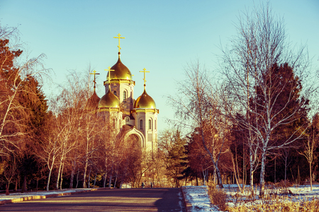 Landscape with golden domes of the church Orthodox church
