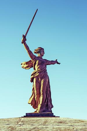 VOLGOGRAD, RUSSIA - JANUARY 15: Monument to World War II Motherland is calling on Mamayev Hill. Stock fotó - 100387704
