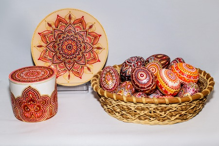 Easter eggs, hand-painted with acrylic paints. Stockfoto