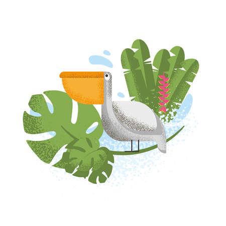 Pelican, exotic plants. Composition for printing. Ilustração