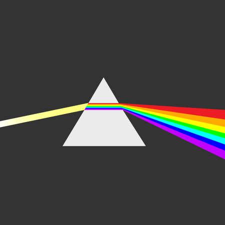 prisma: prisma triangular rompe rayo de luz blanca en colores espectrales del arco iris. Los rayos de luz se presentan como ondas electromagnéticas. Dispersión, prisma de dispersión, la física Vectores