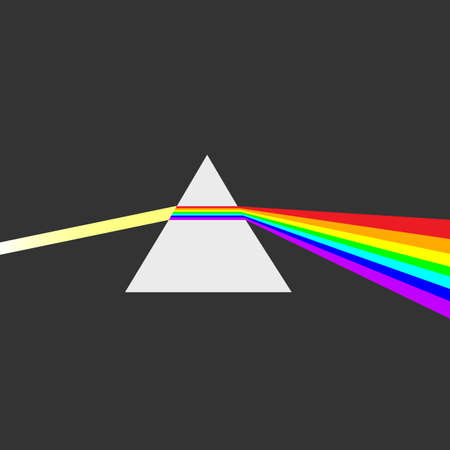 spectral: Triangular prism breaks white light ray into rainbow spectral colors. Light rays are presented as electromagnetic waves. Dispersion, dispersive prism, physics