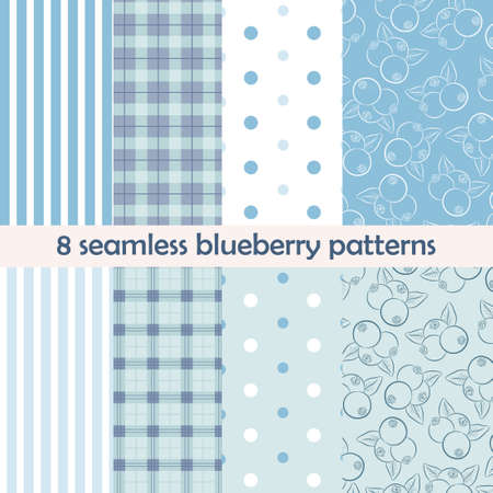 bilberry: Set of 8 seamless patterns. Blueberry collection with berries on blue and light background. Perfect for wallpaper, wrapping paper, textile, package design. Vector illustration. Illustration