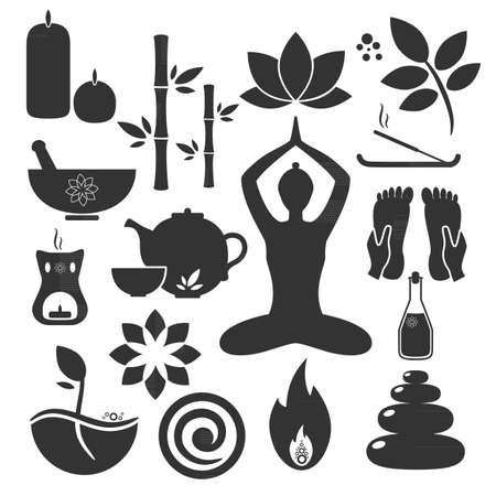 Fije los iconos del ayurveda. Ilustración del vector. Ayurveda logotipos aislados. Los elementos de diseño para el centro de Ayurveda, estudio de yoga, centro de spa. pegatina Ayurveda. Iconos de la belleza fijaron Logos