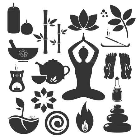 Stel ayurveda pictogrammen. Vector illustratie. Ayurveda logo's geïsoleerd. Design elementen voor ayurveda centrum, yoga studio, spa-centrum. Ayurveda sticker. Beauty icons set Logo